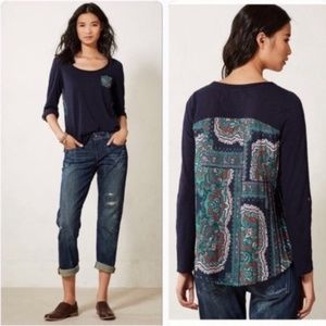 Anthro Paper Locker Navy Mixed Media Top M